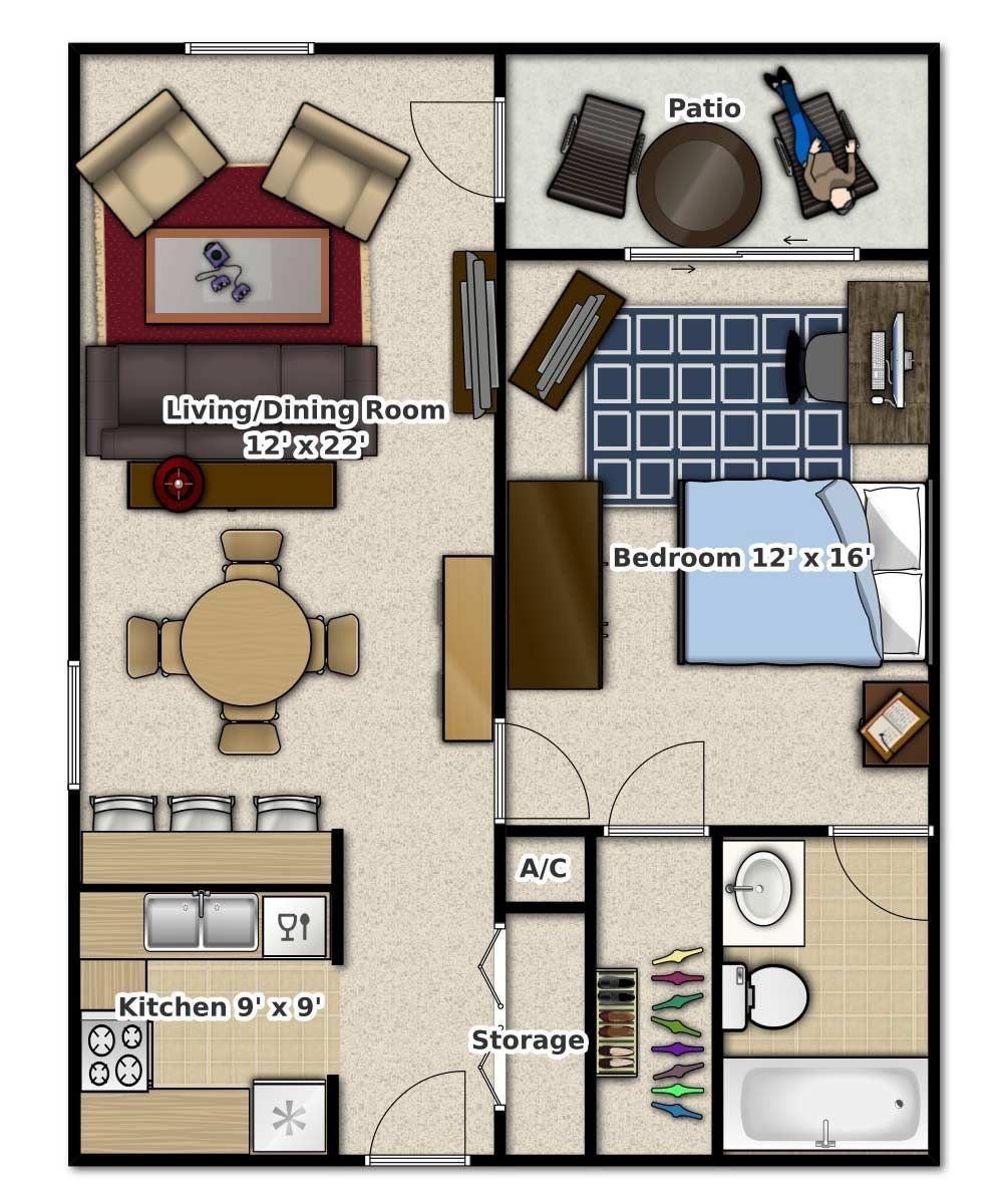 Best 1 Bedroom 1 Bathroom This Is An Apartment Floor Plan With Pictures