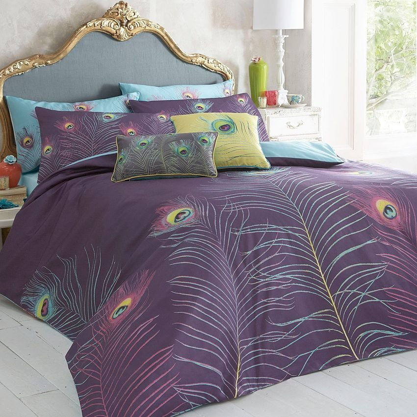 Best Purple Peacock Bedding Set Duvet Covers Pillow Cases With Pictures