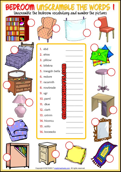 Best Bedroom Unscramble The Words Esl Worksheets For Kids With Pictures