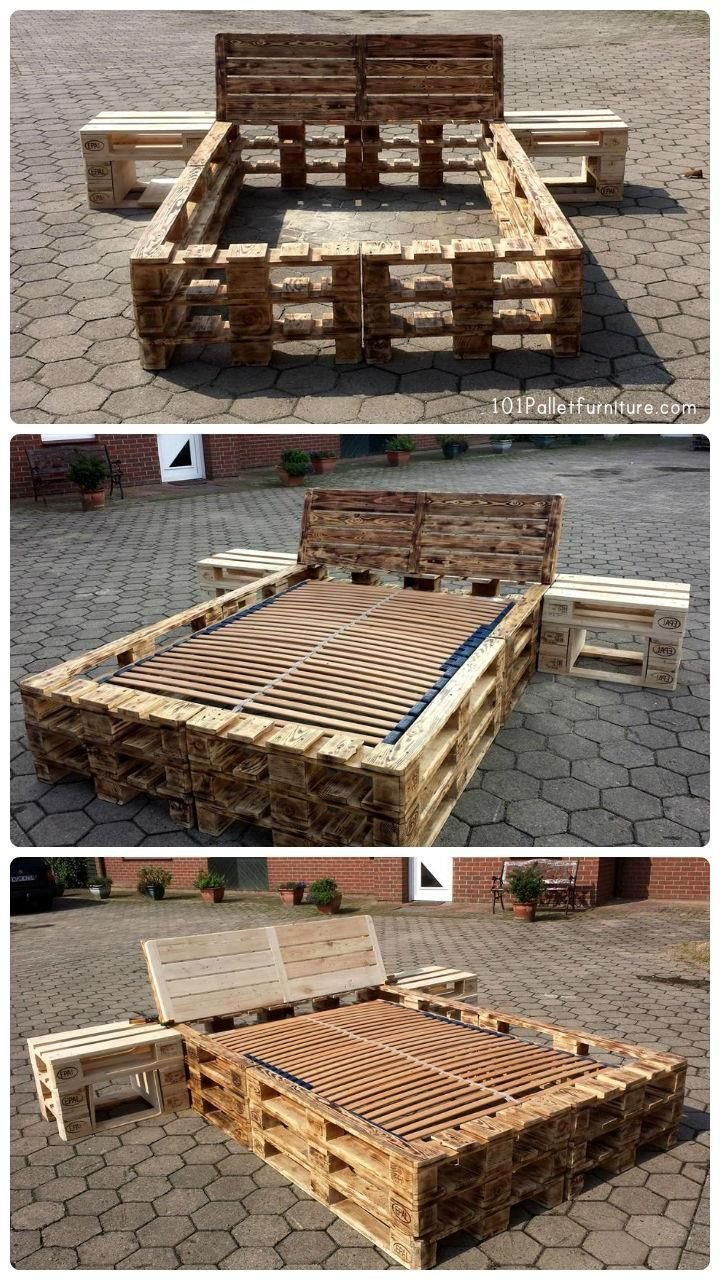 Best Diy Pallet Bed Frame With Nightstands Diy Pinterest With Pictures