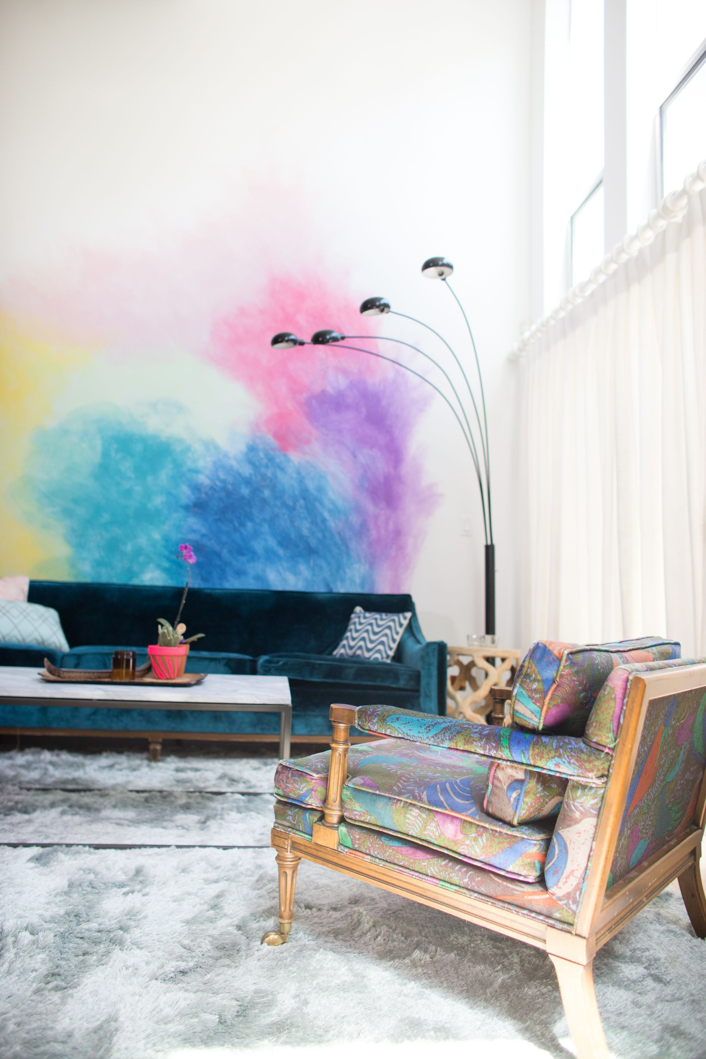 Best Diy Watercolor Mural Wall Living Room Planning Wall With Pictures
