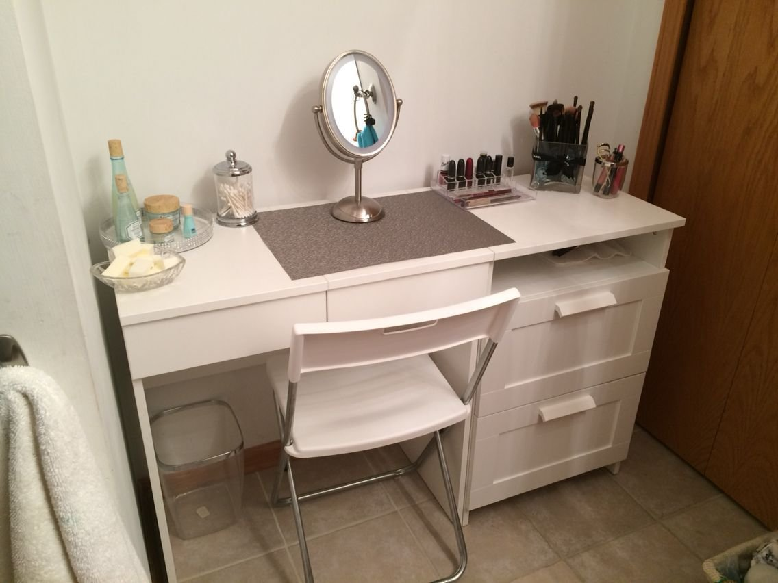 Best My Diy Make Up Vanity Using Ikea Brimne Dressing Table With Pictures