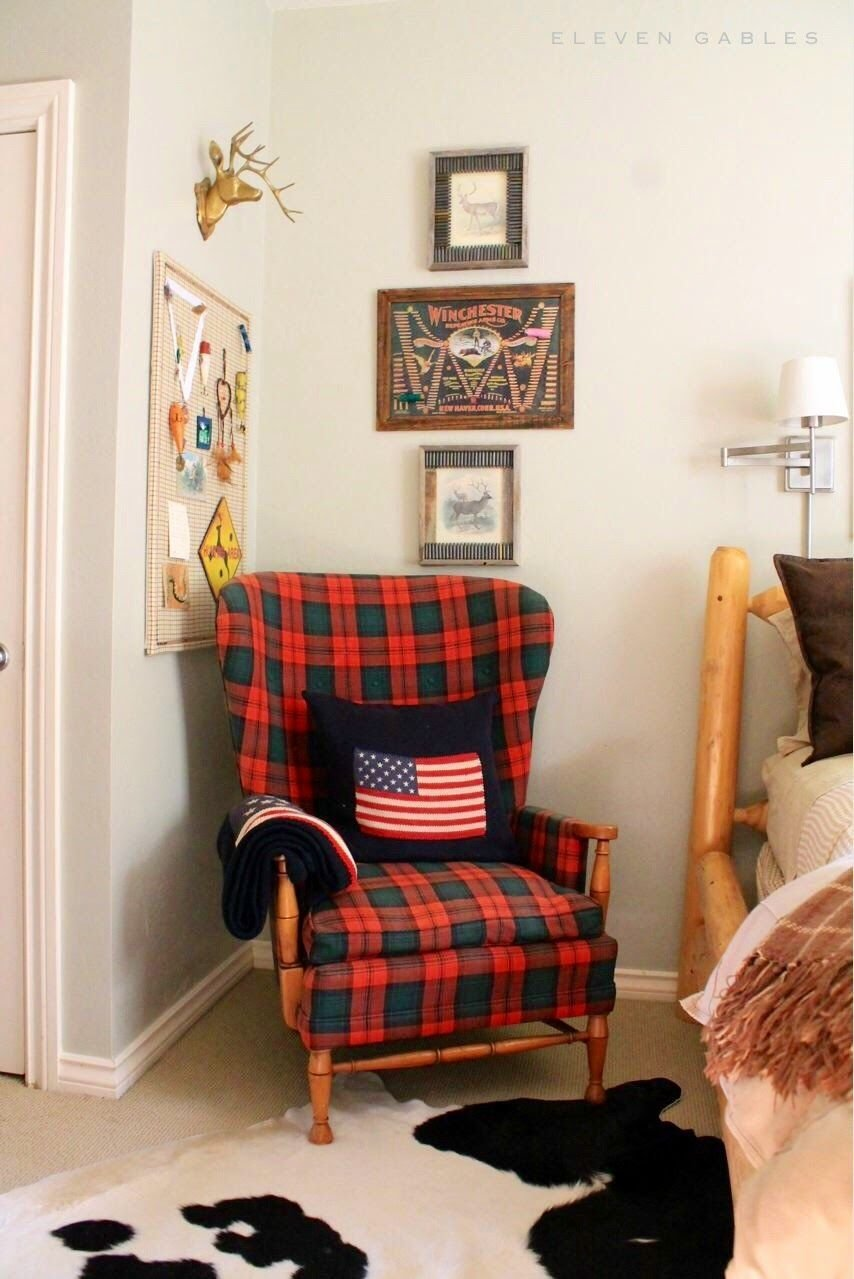 Best Ralph Lauren Inspired T**N Boy Bedroom Plaid Wingback Chair Flag Pillow Brass Deer Head With Pictures