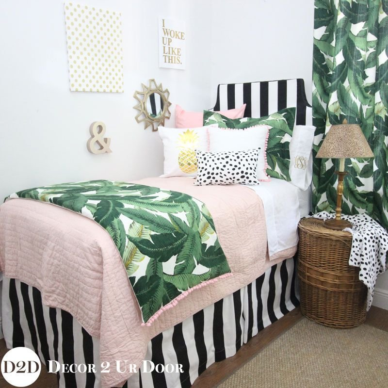 Best Palm Leaf Print Blush Pink Dorm Bedding Set 2019 College Dorm Room Bedding Dorm Decor With Pictures