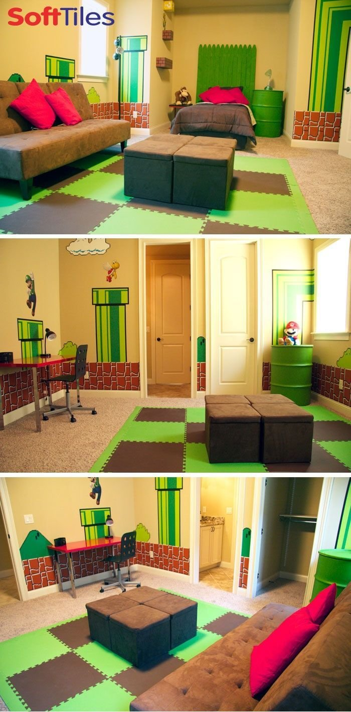 Best Super Mario Themed Bedroom Children S Playroom Using 2X2 With Pictures