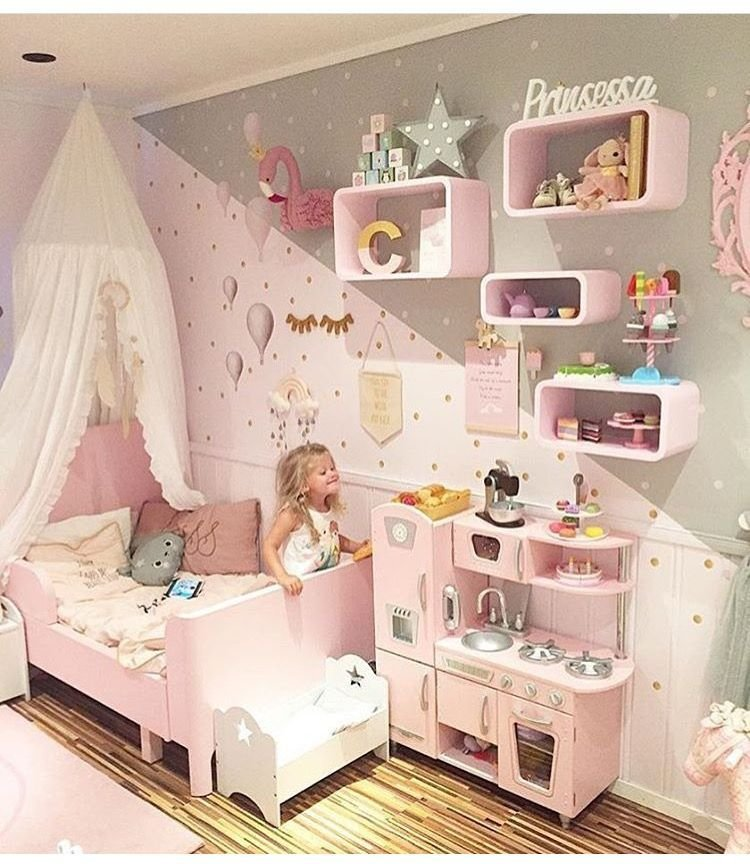 Best Toddler Girl Bedrooms Play Kitchen Kids Rooms Kids With Pictures