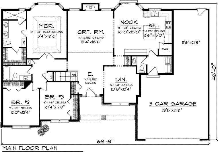 Best Ranch Style House Plan 73301 With 3 Beds 3 Baths 3 Car With Pictures