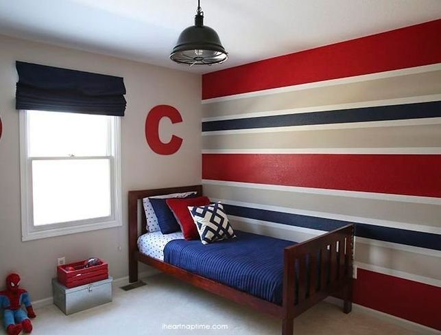 Best Red Blue And Grey Horizontal Stripes Wall Paint For Boys With Pictures
