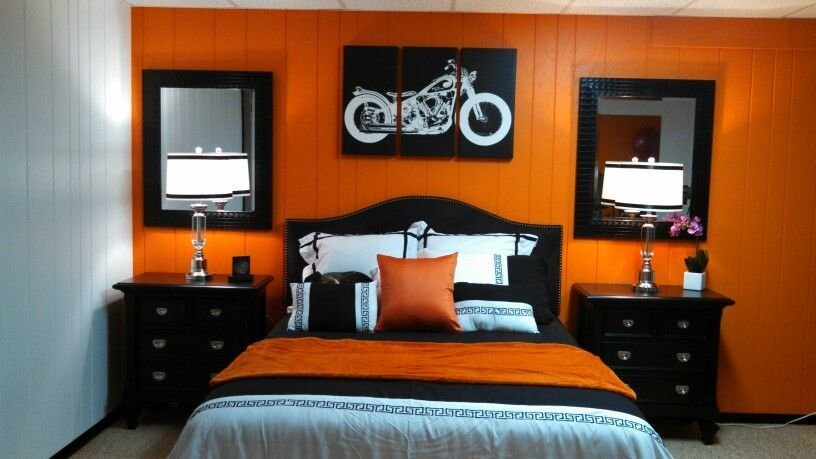 Best Orange Bedroom Spare Rooom Harley Davidson Davidson With Pictures