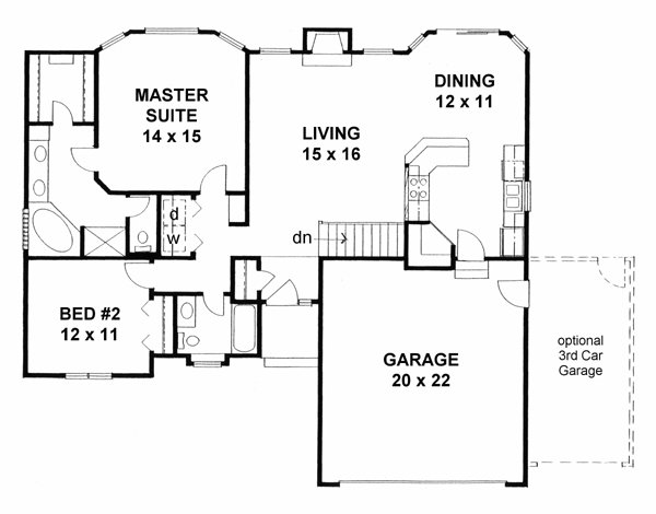 Best Traditional House Plan 62610 With 2 Beds 2 Baths 2 Car Garage In 2019 Tiny Homes Garage With Pictures