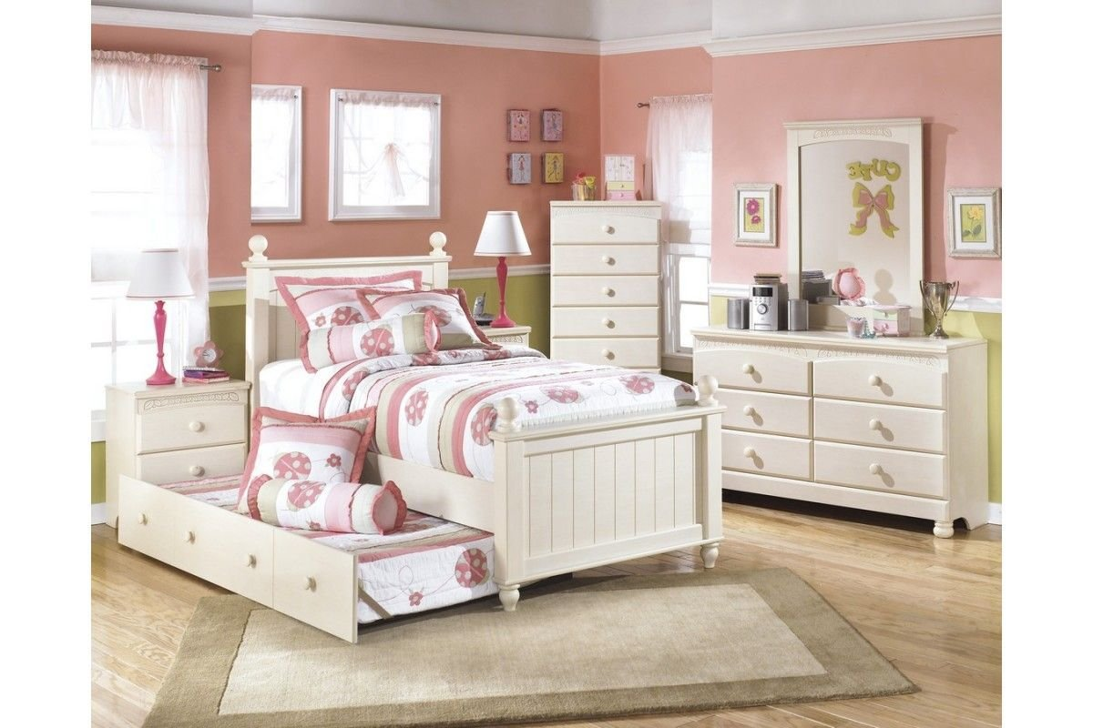Best Beautiful White Themed Twin Bedroom Set For Girls With Trundle Bed And Ladybug Bedding And With Pictures