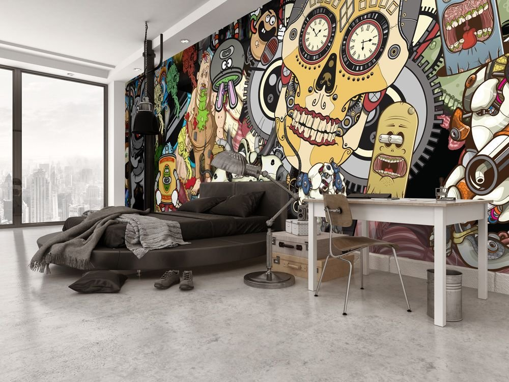 Best Bachelor Pad Cool Bedroom Idea With Sugar Skull Wall Mural With Pictures