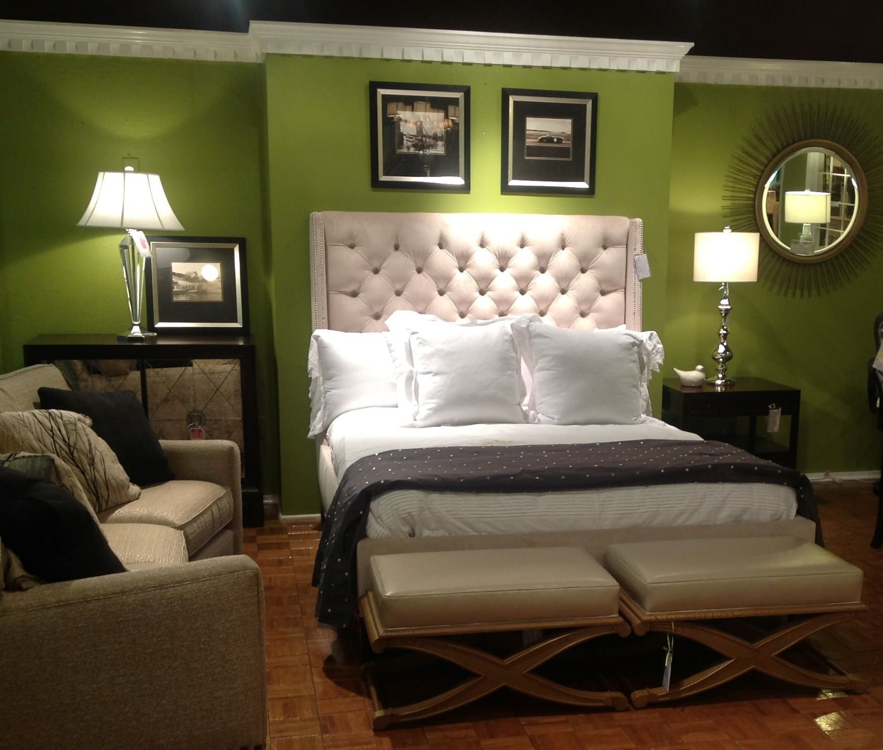 Best Small Modern Bedroom With Green Stained Color Wall Design With Pictures