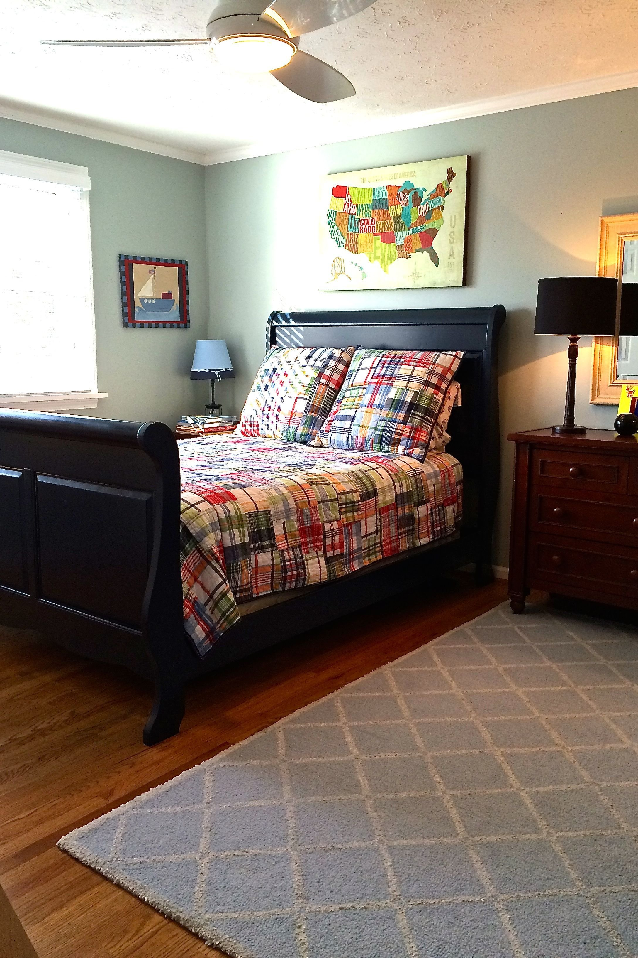 Best A Navy Blue Sleigh Bed Big Boy Furnishings And Bedding With Pictures