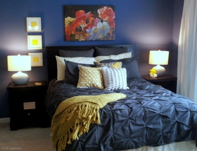Best Navy And Yellow Bedroom With White Comforter Instead Of With Pictures