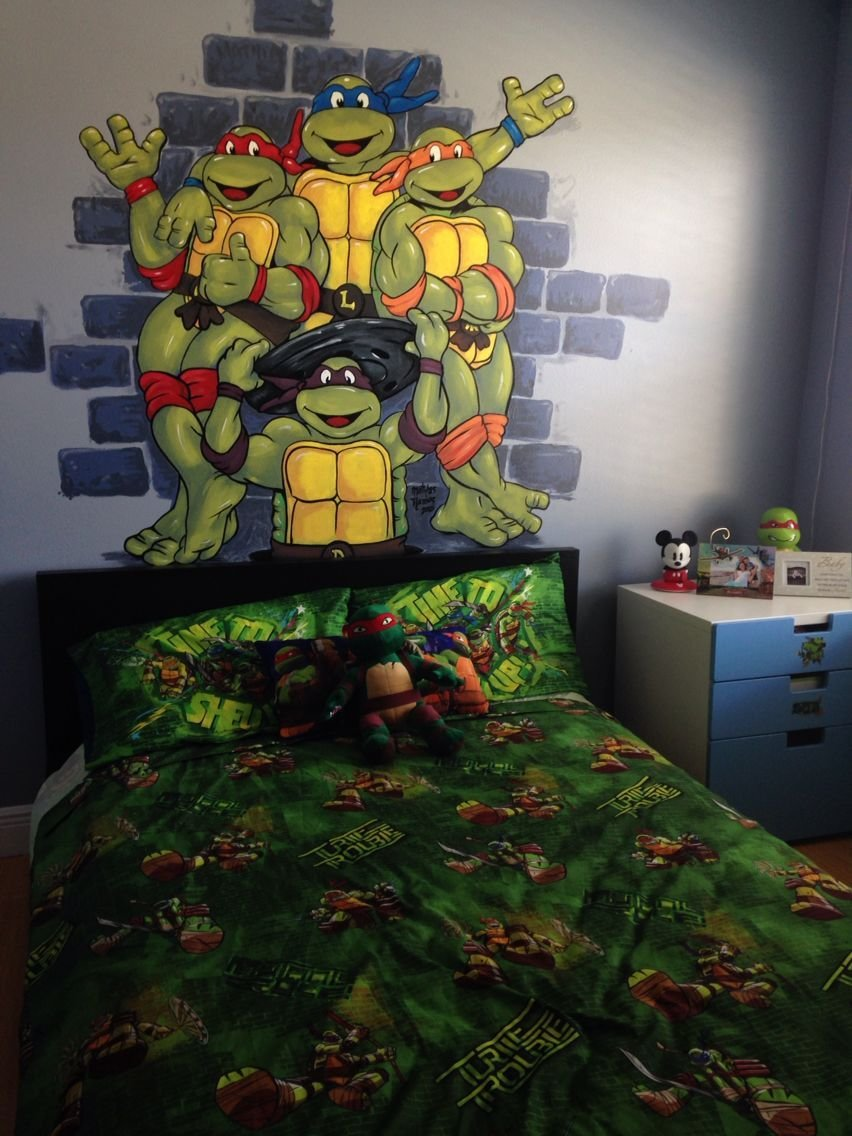 Best Tmnt Hand Painted Wall Mural Boy Room Toddler Preschool With Pictures