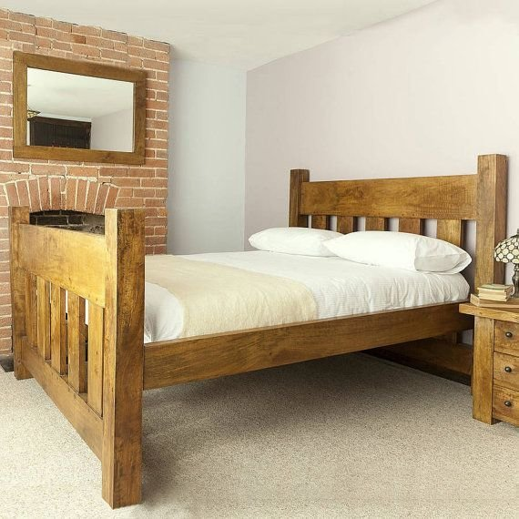 Best Handmade Chunky Solid Wood Plank Post Slatted Bed Frame In Single Double Super King Size Bedroom With Pictures