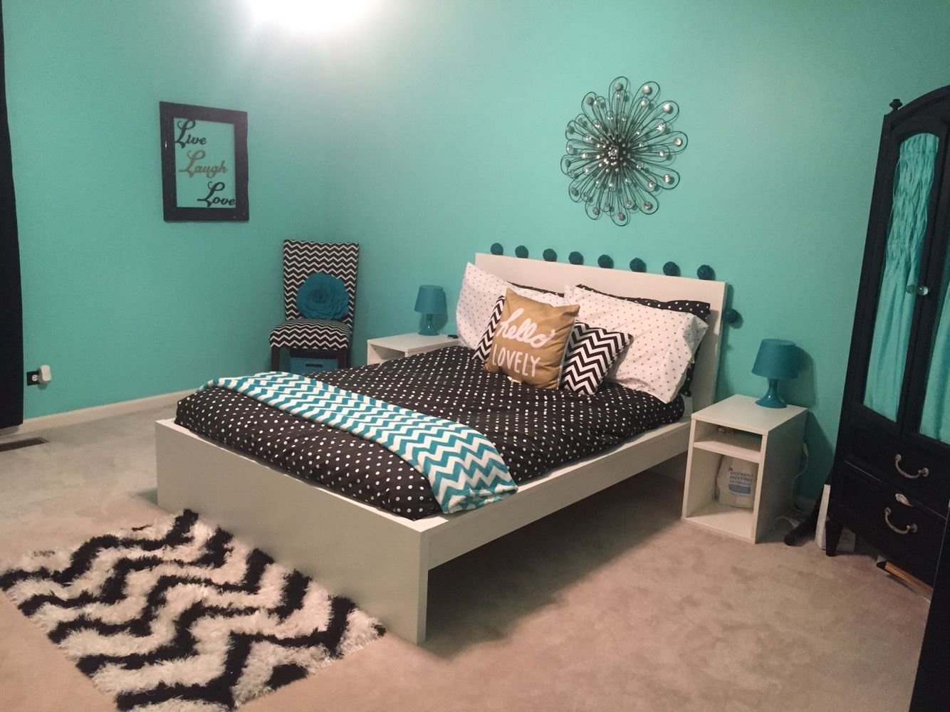 Best Teal Black White And Gold T**N Girl Bedroom With With Pictures