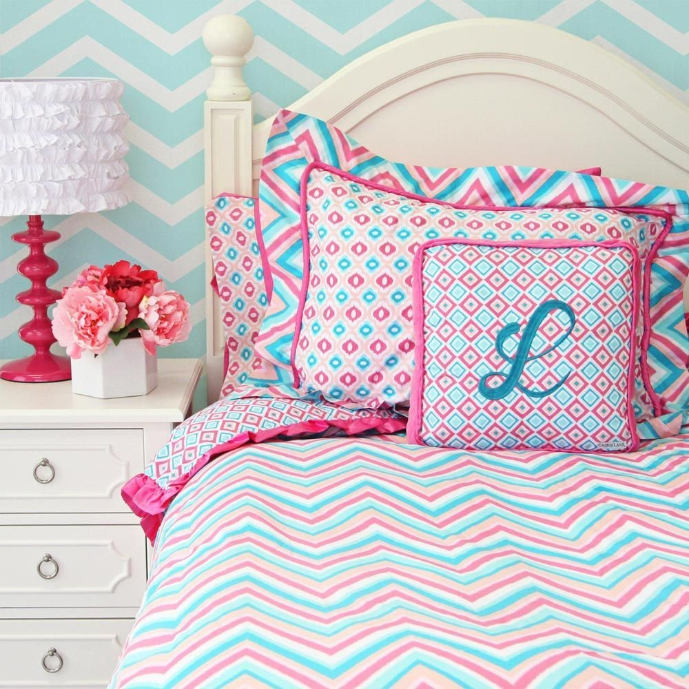 Best T**N Bedding Chevron Pink Turquoise Girls Chevron With Pictures