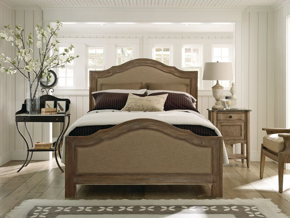 Best Schnadig Cobblestone Upholstered Natural Wood Bed With Pictures