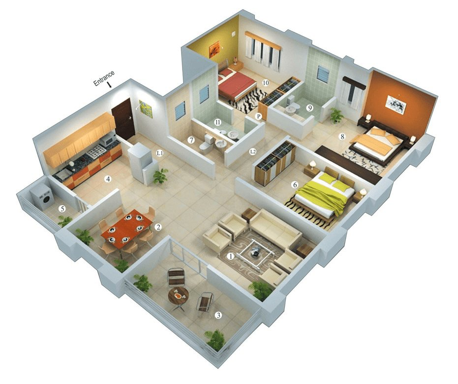 Best 25 More 3 Bedroom 3D Floor Plans Dreams 3D House Plans With Pictures