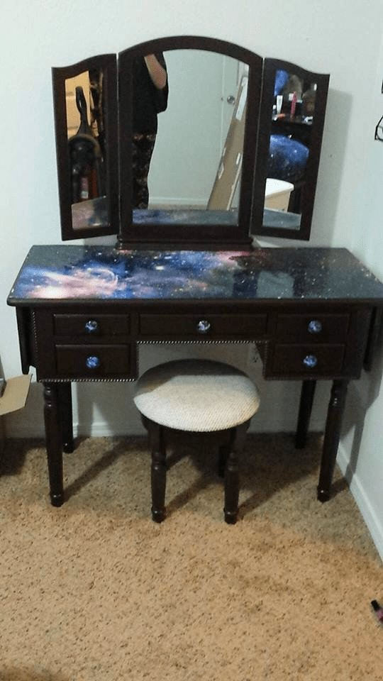 Best Stunning Galaxy Themed Vanity Galaxy Furniture Space Furniture For The Home In 2019 Room With Pictures