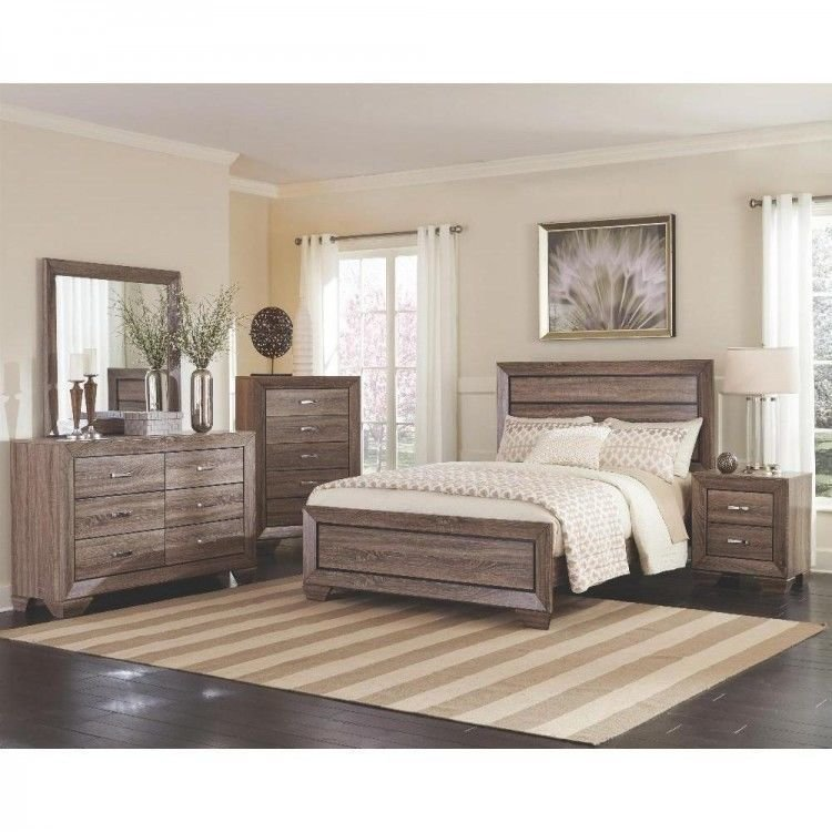 Best 6 Piece Contemporary Bedroom Set Oak Wood Taupe Brown With Pictures