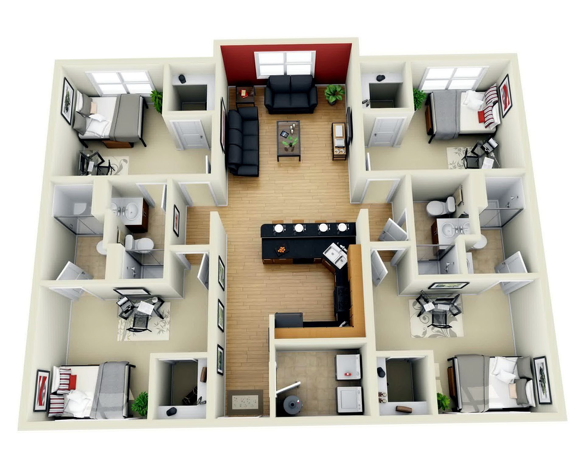 Best Download 4 Bedroom House Design 3D Adhome Plans 2 Bath 1 With Pictures