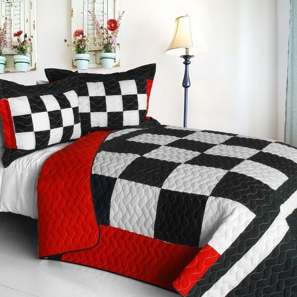 Best Checkered Flag Bedding Full Queen Quilt Set Black White Red Bedspread Speedway Race Car Sports With Pictures