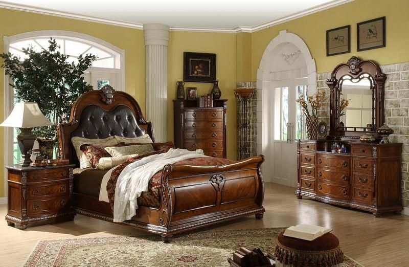 Best Mollai Collection 7Pc Bedroom Set With Padded Leather With Pictures