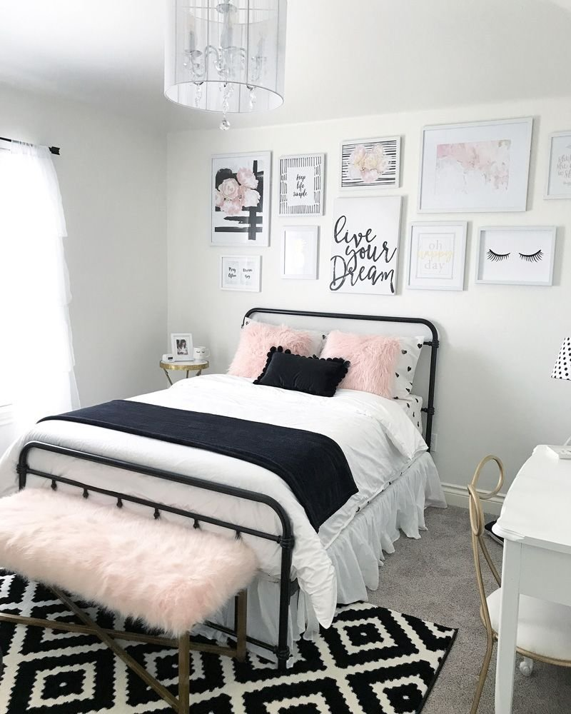 Best Black And Blush Pink Girls Room Decor Great Teenager Girls Room Girls Room Gallery Wall Idea With Pictures