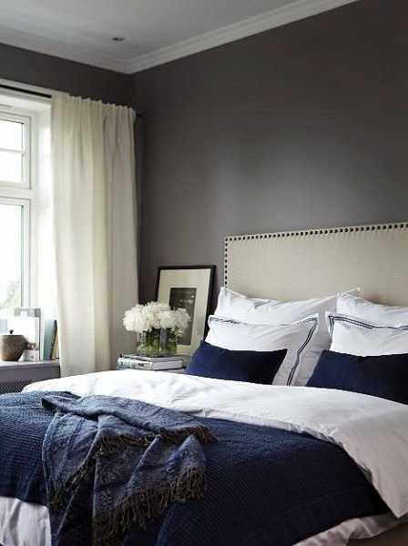 Best Dark Blue And White Bed And Dark Walls White Curtains Possible Guest Or Master Decor With Pictures