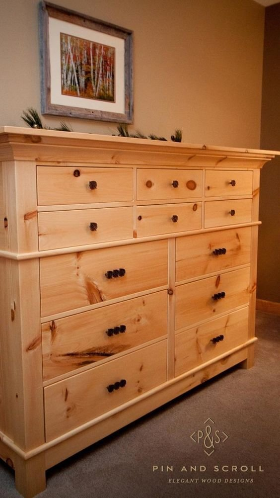 Best Rustic Pine Bedroom Set Large Knotty Pine Dresser 02 With Pictures