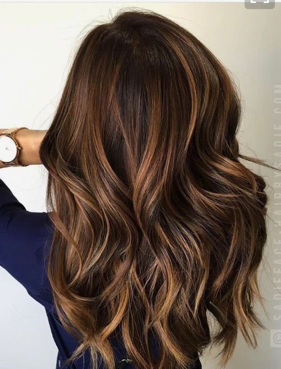 Free Long Warm Brown Hair With Caramel Level 7 Highlight Wallpaper