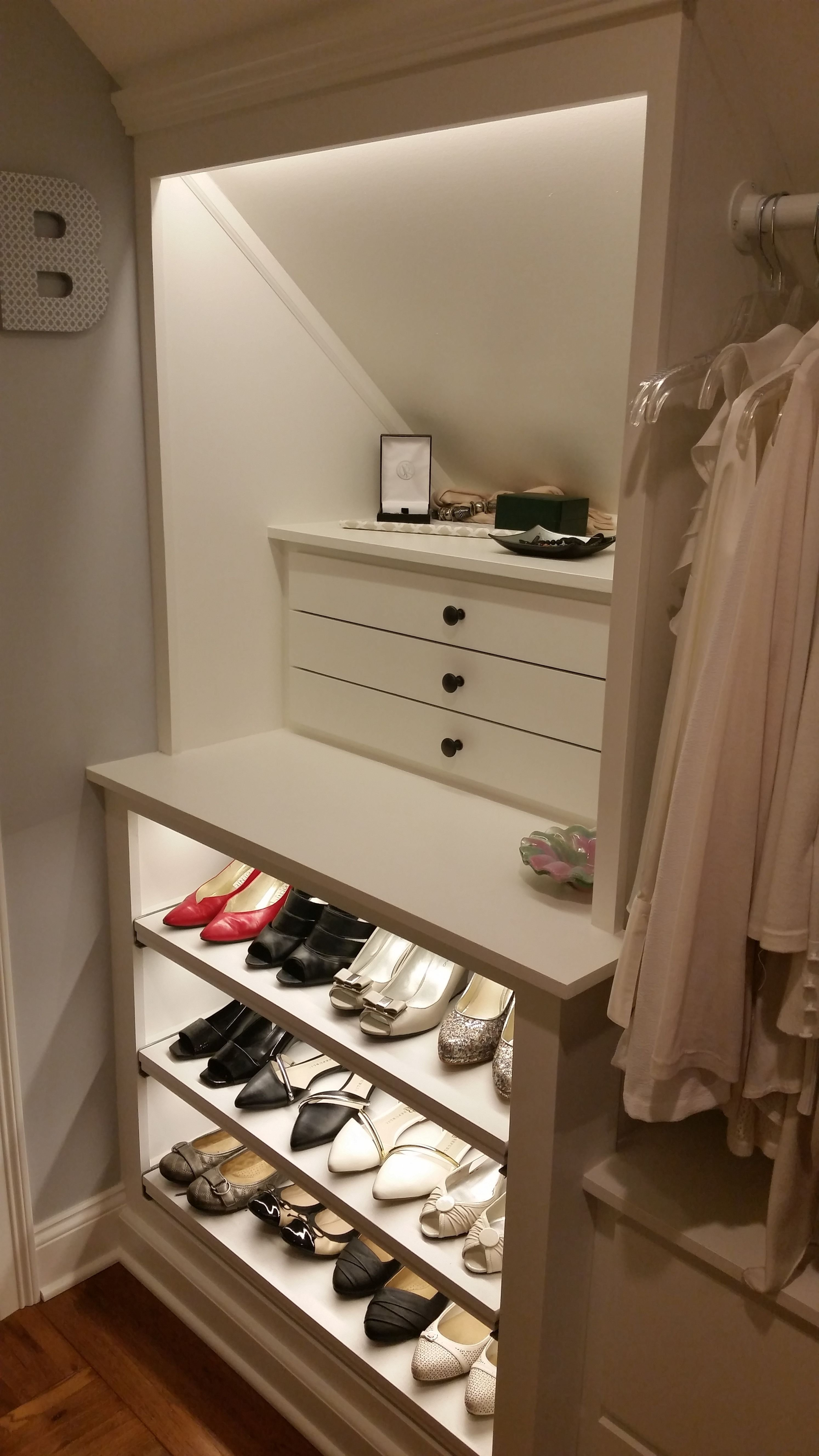 Best Custom Walk In Closet Slanted Ceilings Jewelry Drawers With Pictures