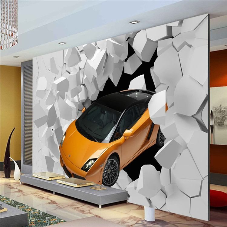 Best 3D Sports Car Photo Wallpaper Giant Wall Mural Unique With Pictures