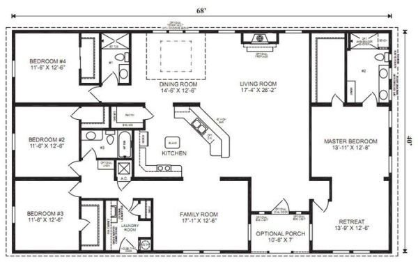 Best Ranch House Floor Plans 4 Bedroom Love This Simple No Watered Space Plan Add A Wraparound With Pictures