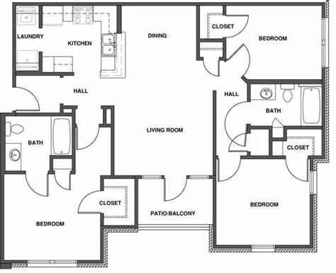Best 3 Bedroom Apartment Floor Plan With Dimensions With Pictures