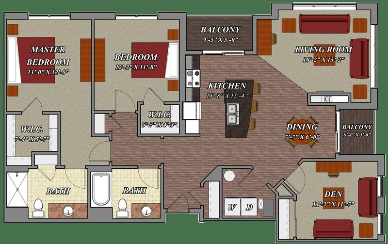 Best 2 Bedroom 2 Bathroom Den Style E1 – Lilly Preserve Apartments With Pictures