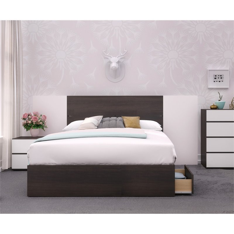 Best Nexera Polar Full Size Bedroom Set In Ebony And White Ebay With Pictures