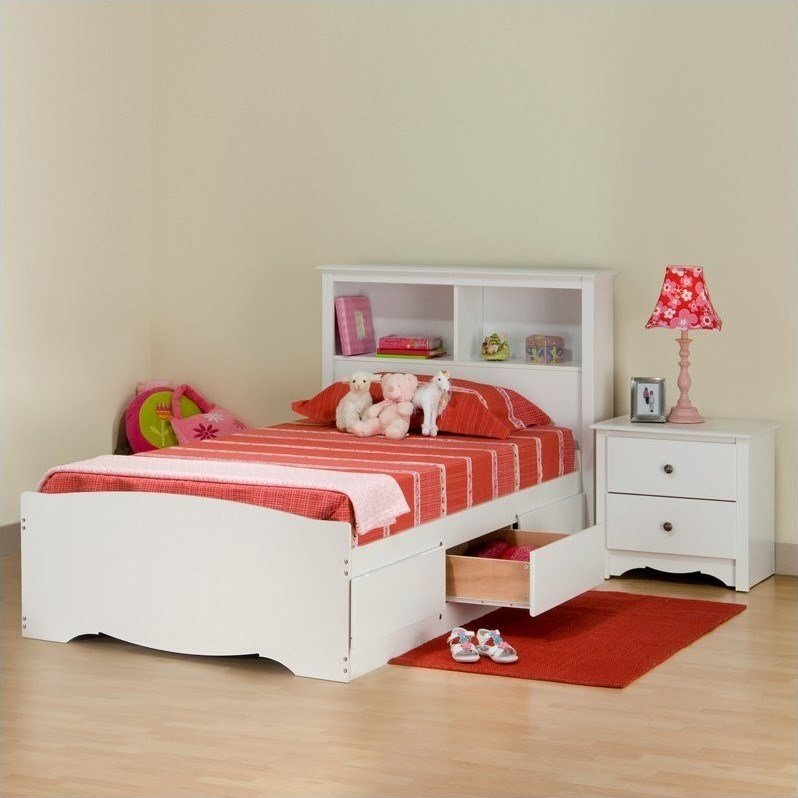 Best Prepac Monterey White Twin Wood Platform Storage Bed 3 With Pictures