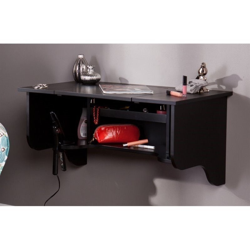 Best Southern Enterprises Wall Mount Ledge Vanity In Black Hz7589 With Pictures