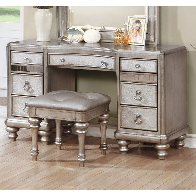 Best Coaster Bling Game 7 Drawer Bedroom Vanity In Metallic With Pictures