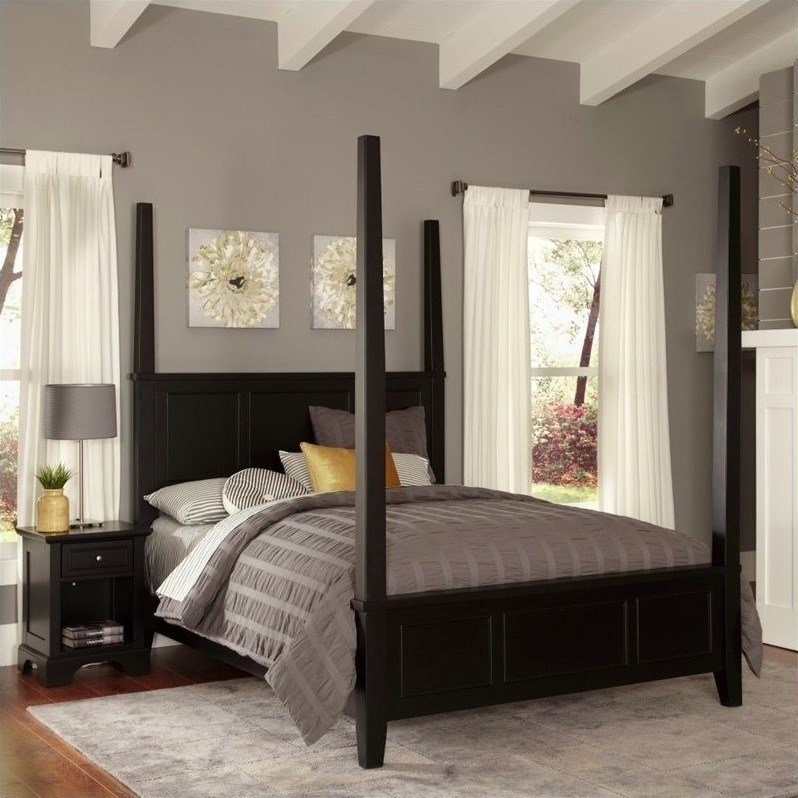 Best Poster Bed And Night Stand In Black 5531 X202 With Pictures