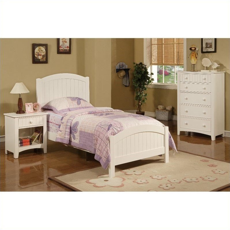 Best Poundex 3 Piece Kids Twin Size Bedroom Set In White Finish Y904901 With Pictures
