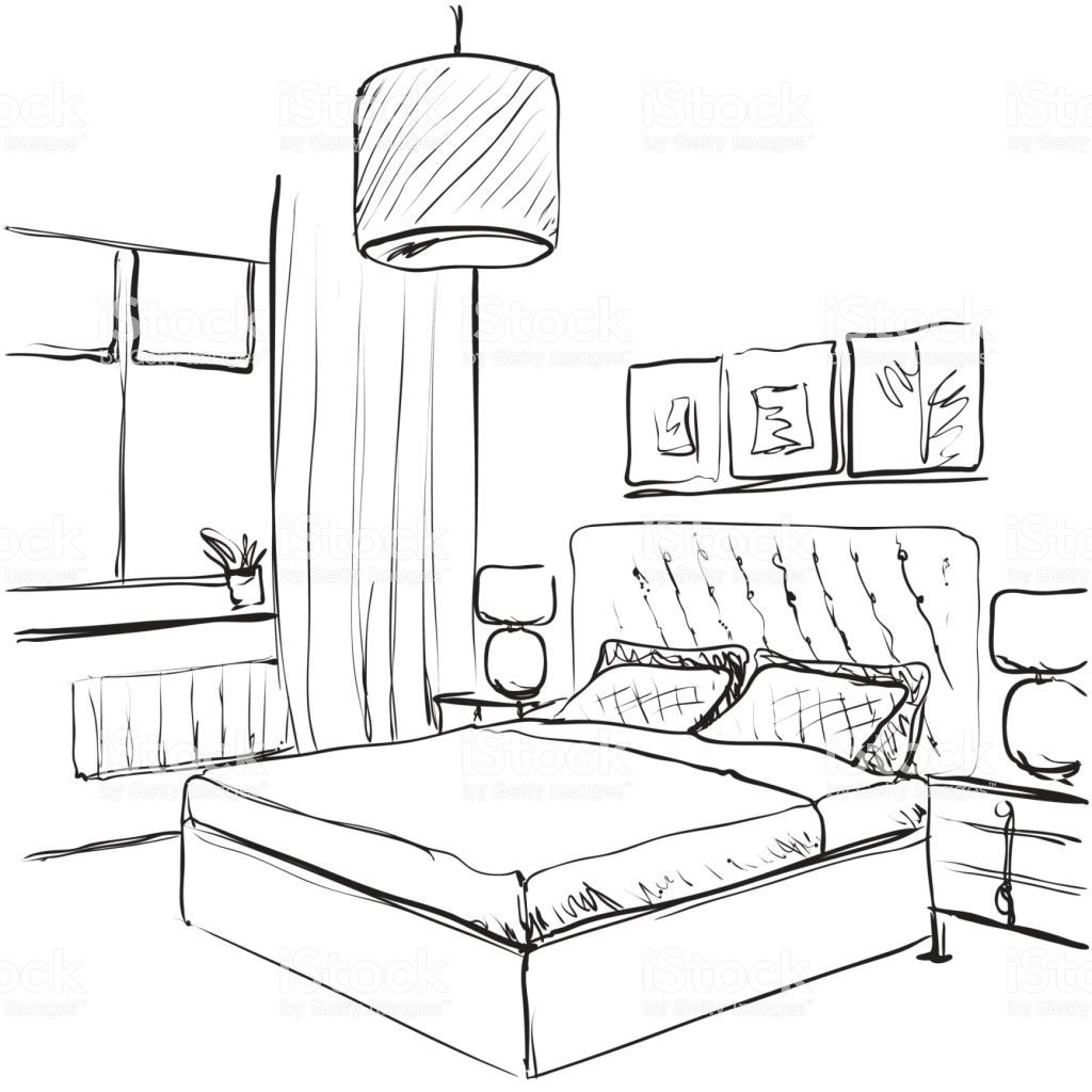 Best Bedroom Interior Sketch Hand Drawn Furniture Stock Vector With Pictures