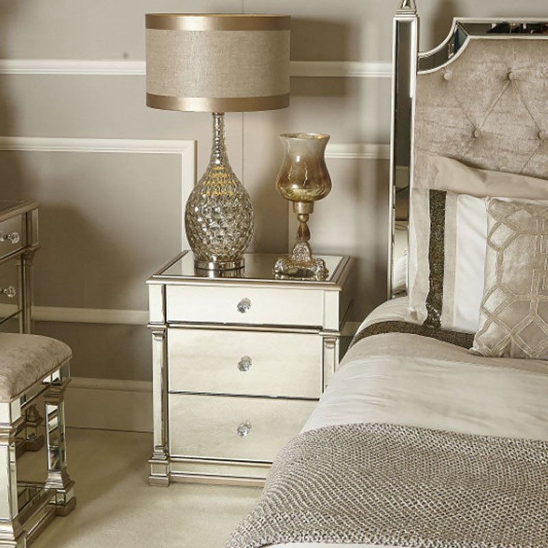 Best Athens Gold Mirrored 3 Drawer Chest Bedside Cabinet With Pictures