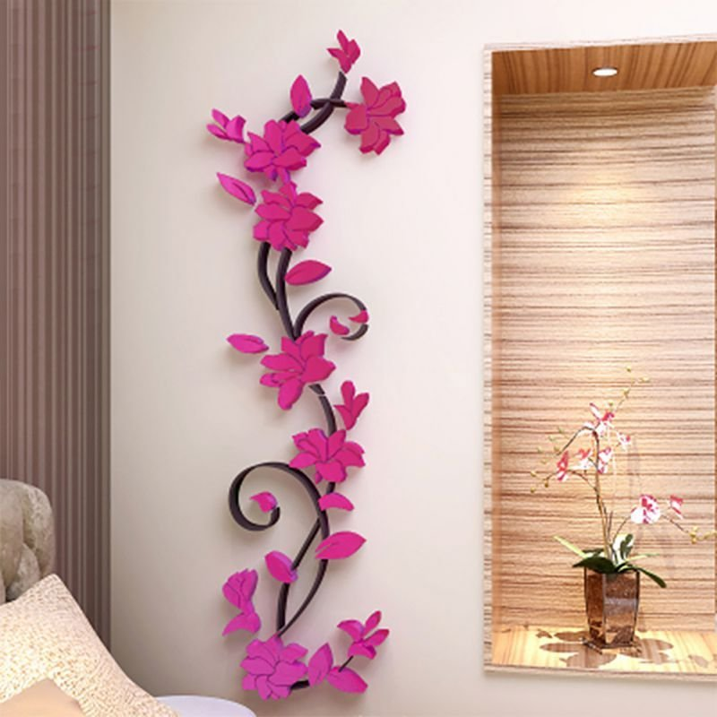Best 3D Diy Decal Removable Flowers Romantic Heart Wall Sticker Home Room Vinyl Decor With Pictures