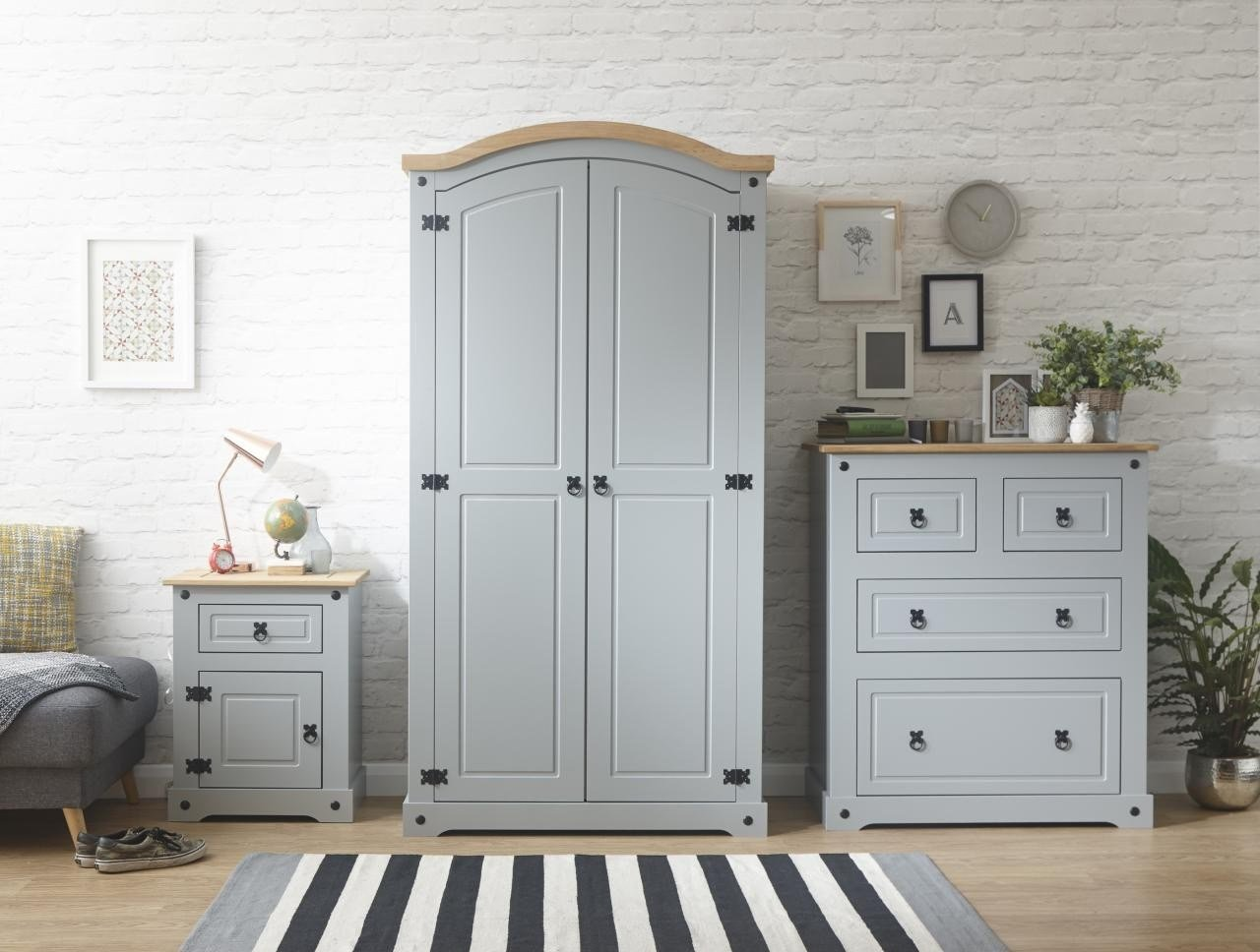 Best Corona Grey Or White 3 Piece Bedroom Furniture Set Wardrobe Chest Bedside With Pictures