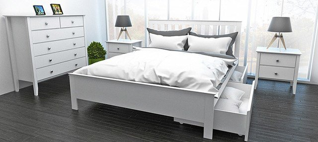 Best Myer White Queen Bed With Two Storage Drawers With Pictures